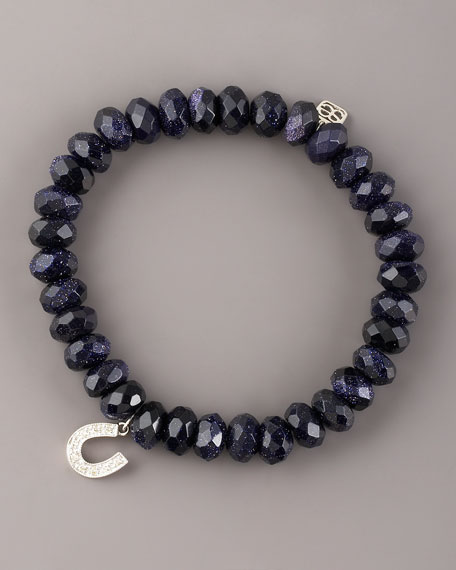 Goldstone & Diamond Horseshoe Bracelet