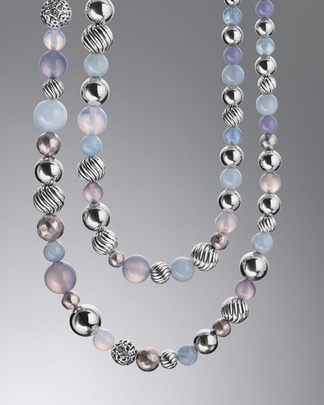 Elements Necklace, Blue Chalcedony