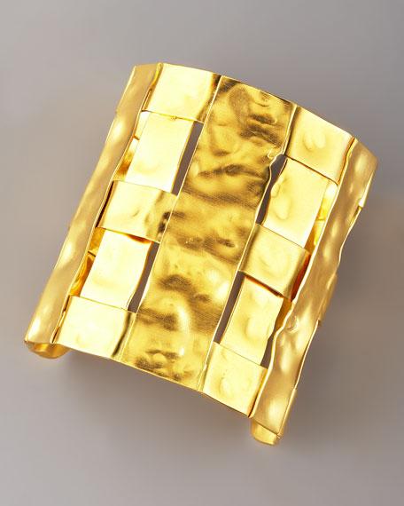 Hammered Gold Basketweave Cuff