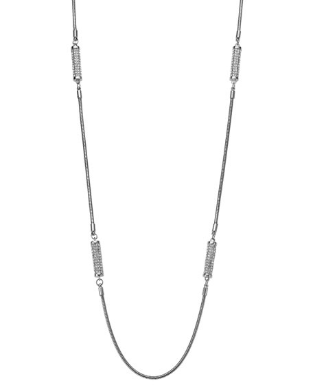 Long Pave Barrel Necklace, Silver Color