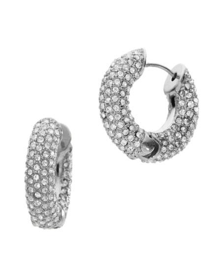 Pave Huggie Hoop Earrings, Silver Color