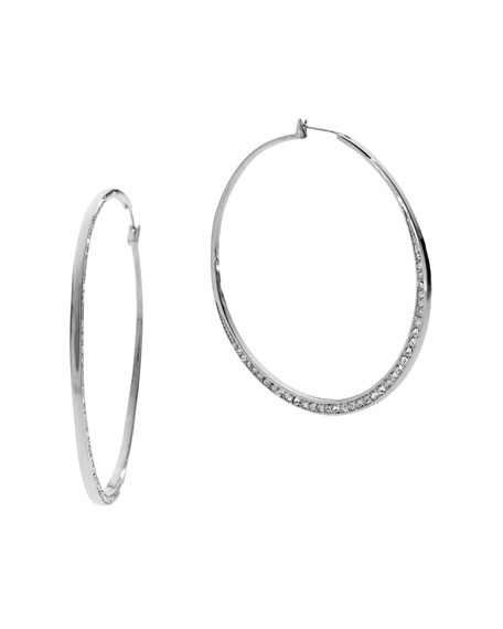 Pave Whisper Hoop Earrings, Silver Color
