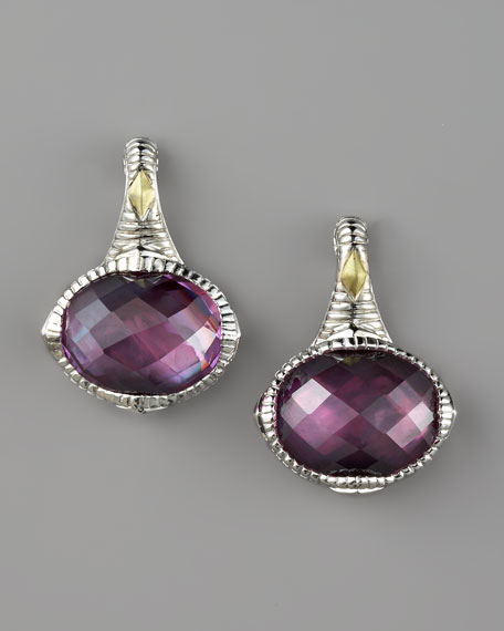 Corundum Doublet Drop Earrings