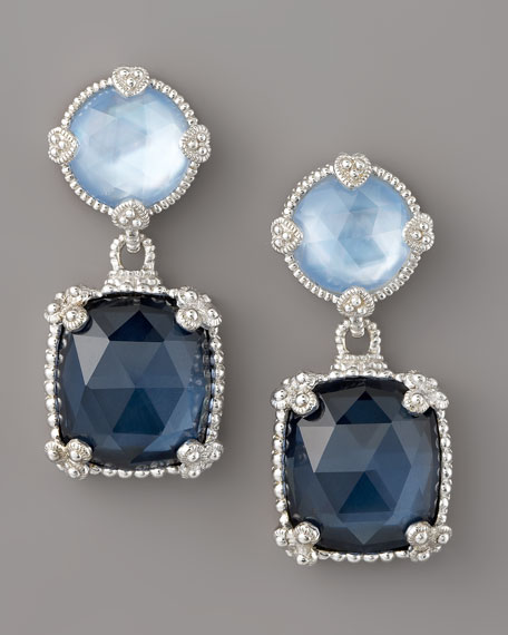 Quartz Doublet Drop Earrings, Blue
