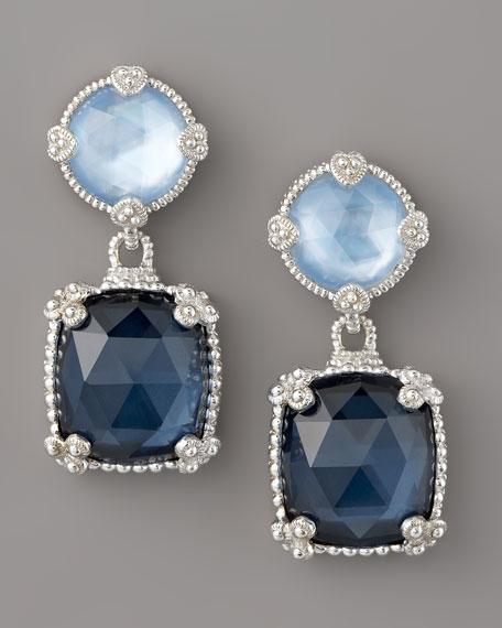 Quartz Doublet Drop Earrings, Blue
