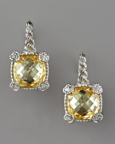 Cushion-Cut Canary Drop Earrings