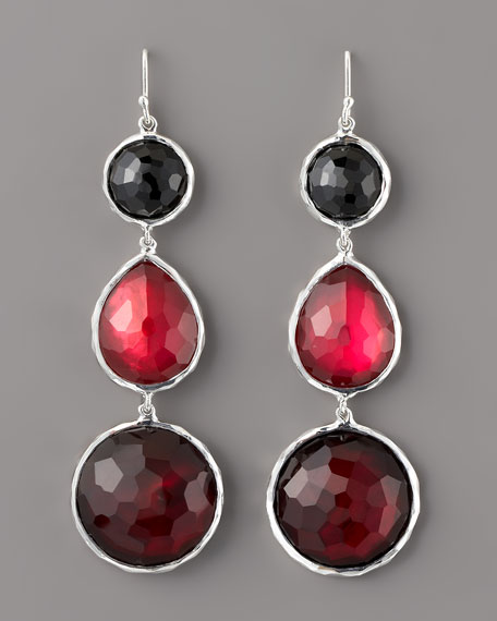 Three-Drop Earrings, Red