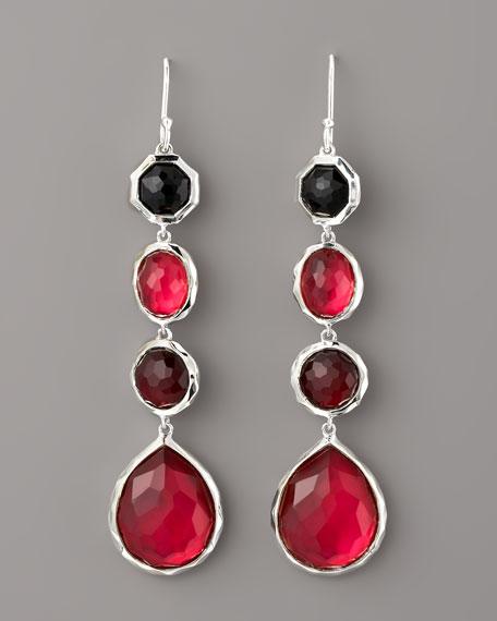 Four-Drop Earrings, Red