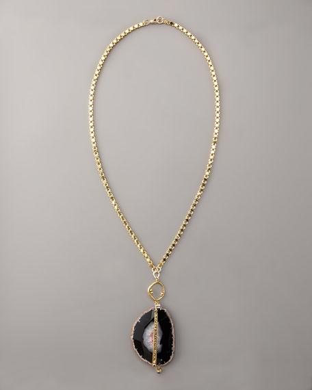 Purple Agate Pendant Necklace