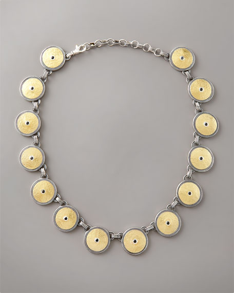 Gold & Spinel Shield Necklace