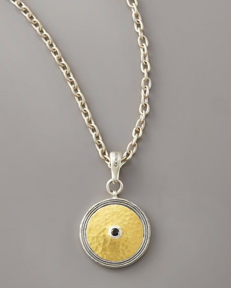 Gold & Spinel Shield Pendant Necklace