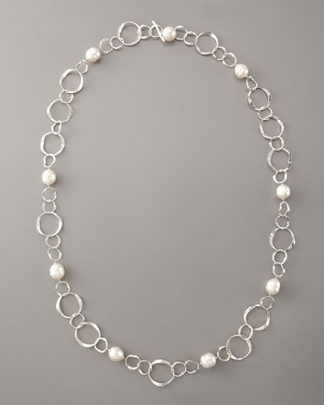 """Hammered Silver & Pearl Necklace, 36""""L"""