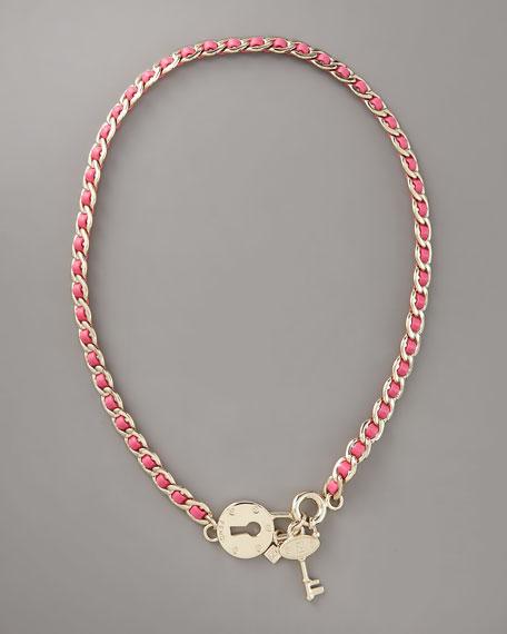 Lock & Key Necklace, Pink