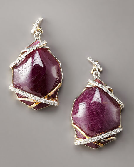 Ruby & Sapphire Drop Earrings, Small