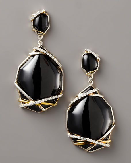 Onyx & Sapphire Drop Earrings, Small