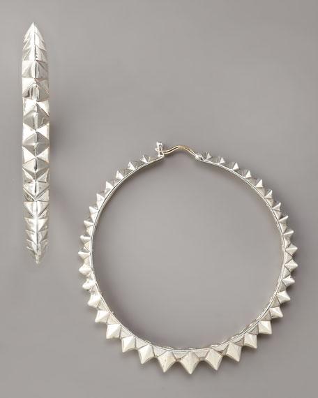 Superstud Hoop Earrings, Silver