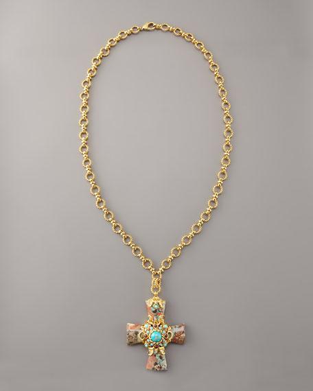 Jasper Cross Pendant Necklace