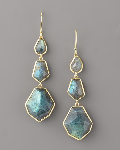 Three-Drop Earrings, Labradorite
