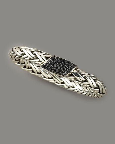 Classic Chain Black Sapphire Bracelet, Medium