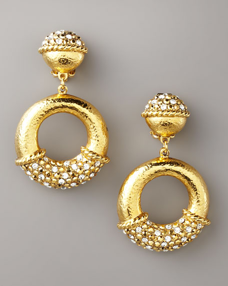 Pave Gold Clip Earrings