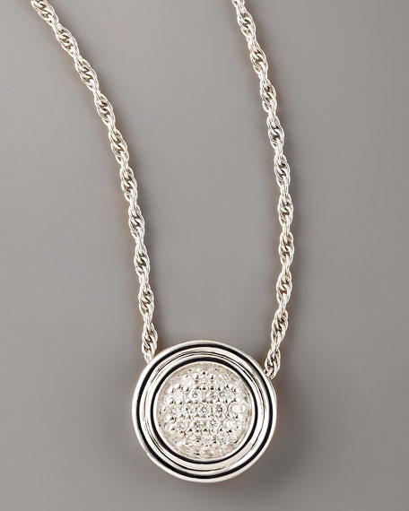 Pave Diamond Pendant Necklace, Silver
