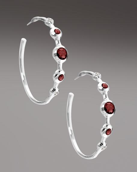 Diamond & Garnet Station Hoop Earrings