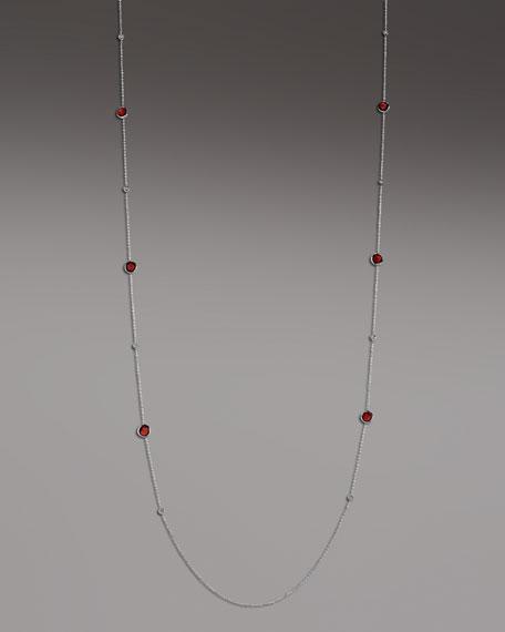 Diamond & Garnet Station Necklace