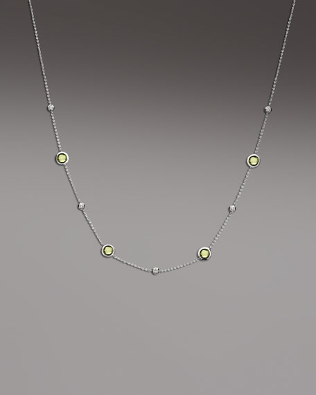 Diamond & Peridot Station Necklace