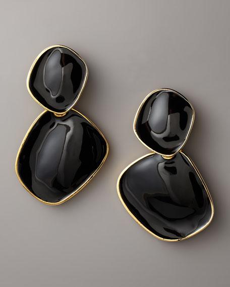 Enamel Drop Earrings, Clip