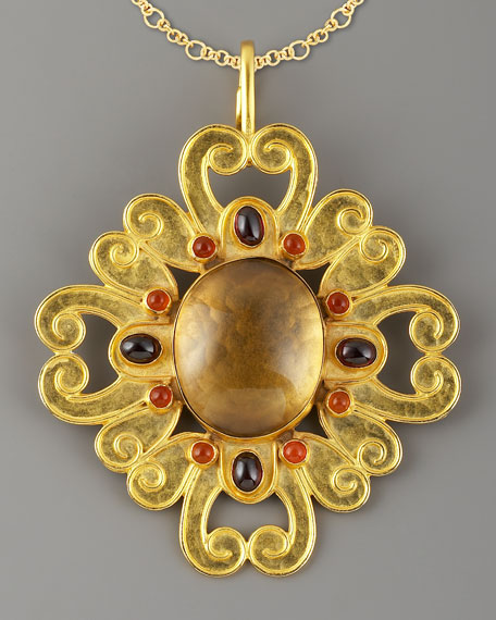 Floral Scroll Pendant, Topaz