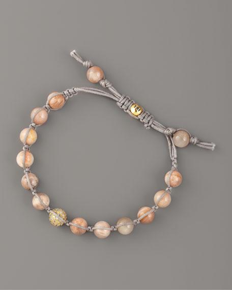 Pink Agate Bead Bracelet