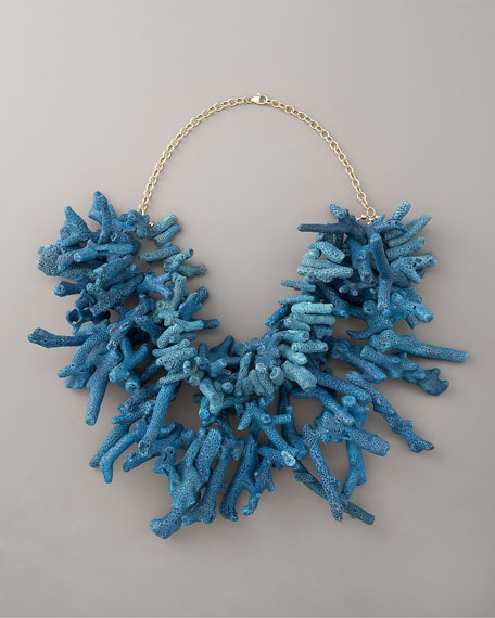 Three-Strand Blue Coral Necklace