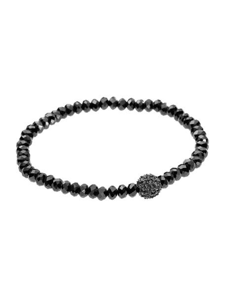Pave Fireball Bead Bracelet, Hematite