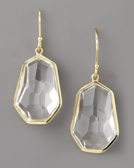 Irregular Teardrop Earrings, Clear Quartz