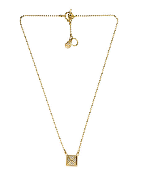 Pave Pyramid Necklace, Golden