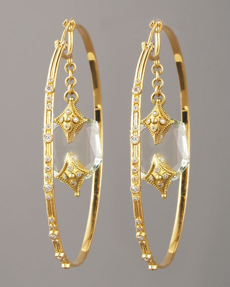 Green Amethyst Hoop Earrings