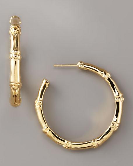 Gold Bamboo Hoop Earrings, Medium