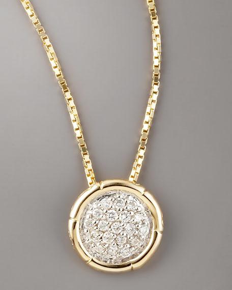 Pave Diamond Pendant Necklace, Gold