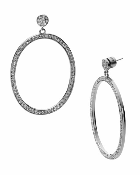 Front Facing Hoop Earring with Pave Detail