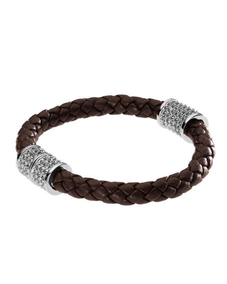 Chocolate Braided Leather Bracelet with Pave Detail