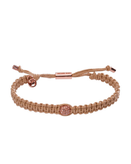 Natural Macrame Bracelet with Pave Fireball Detail