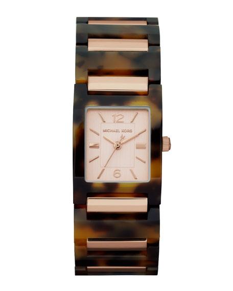 Mini-Size Tessa Three-Hand Watch, Tortoise/Golden