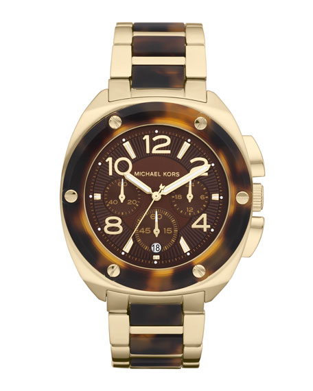 Mid-Size Tribeca Chronograph Watch, Golden/Tortoise