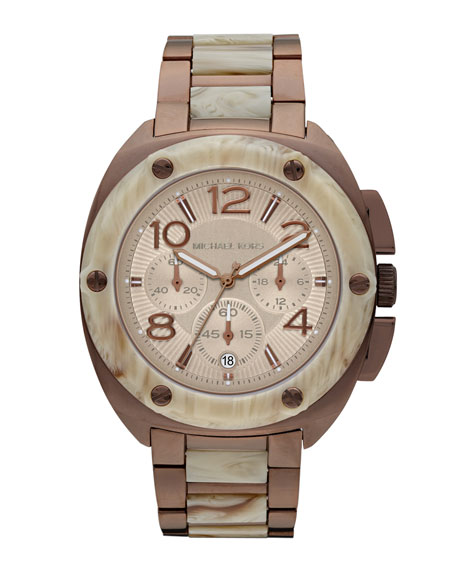 Mid-Size Tribeca Chronograph Watch, Espresso/White Horn
