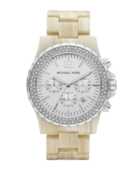 Oversized Madison Chronograph Glitz Watch, White Horn