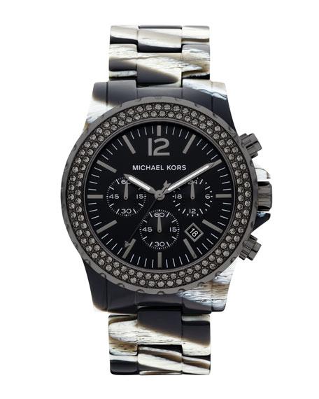 Oversized Madison Chronograph Glitz Watch, Zebra