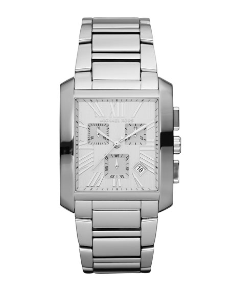 Mid-Size City Chronograph Watch, Silver-Color