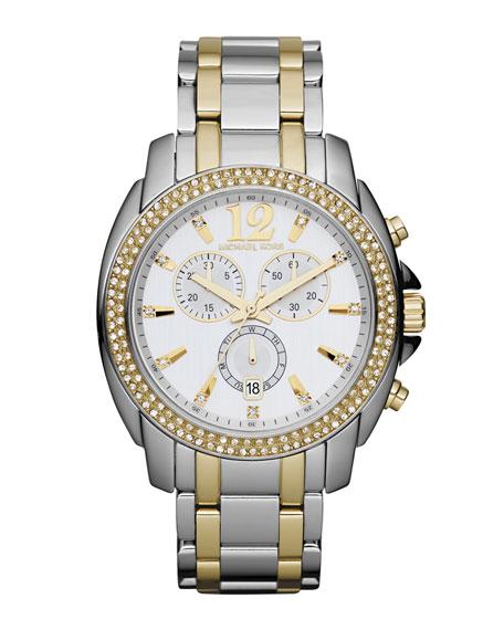 Mid-Size Cameron Chronograph Glitz Watch, Silver-Color/Golden