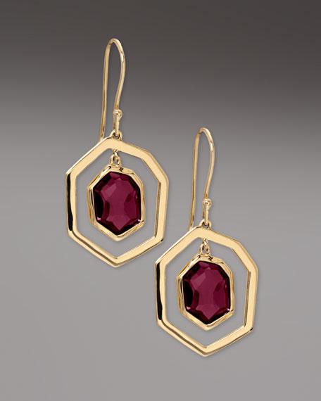 Framed Garnet Drop Earrings
