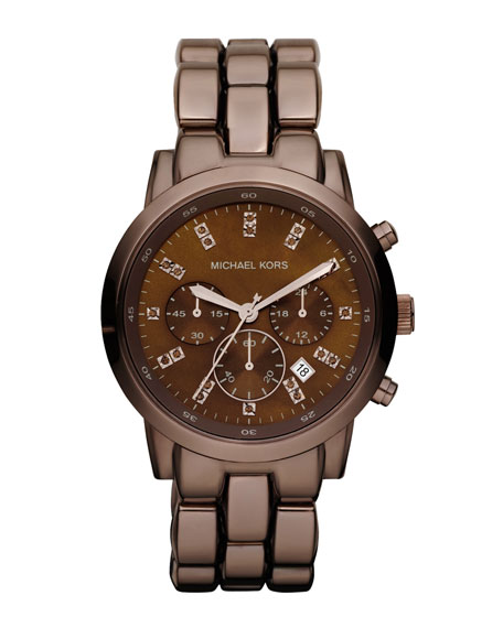 Mid-Size Showstopper Chronograph Watch, Espresso